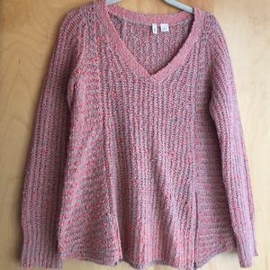 Anthropologie Moth coral taupe v-neck sweater XS